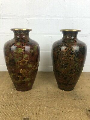 "Stunning Antique Chinese Matching Pair Cloisonne Vases, Bronze Leaf Tones 9"" • 69£"