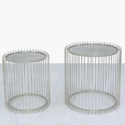 Set Of 2 Silver Round Metal Side End Nest Tables With Glass Top • 189.99£