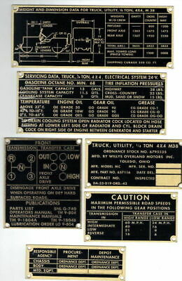 $55 • Buy Vintage Willys Military Jeep M38 G740 Data Plate Set