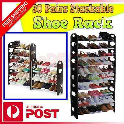 AU19.95 • Buy Model 30 Pairs 10 Tiers Stackable Storage Shoe Rack Holder For Shoes