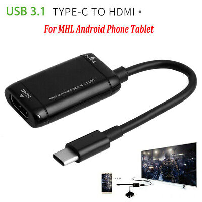 AU7.03 • Buy Type-C Hub USB 3.1 To HDMI Adapter Cable For MHL Android Phone Tablet Black RC