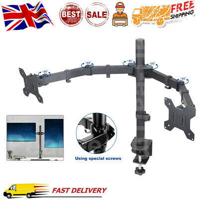 Office Dual Arm TV Wall Mount Bracket Holder For 10 -27  Monitor Screen Flat UK • 20.99£