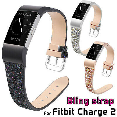 AU14.05 • Buy Luxury Bling Christmas Leather Band For Fitbit Charge 2 Smart Watch Strap Belts
