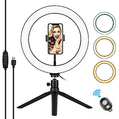 AU13.19 • Buy 10 Inch Dimmable LED Ring Light With Tripod Stand Phone Holder For Live Stream
