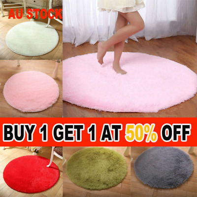 AU18.55 • Buy Circle Round Soft Shaggy Rug Kids Living Room Bedroom Carpet Floor Fluffy Mat GN