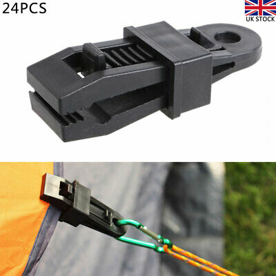 24 Heavy Duty Camping Tarpaulin Eyelet Clips Non-piercing Tent Tie Down Cover Uk • 8.56£
