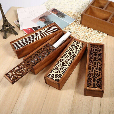 Office Wooden Structure Stationery Organizer Pen Pencil Holder Box Case Lin • 3.78£