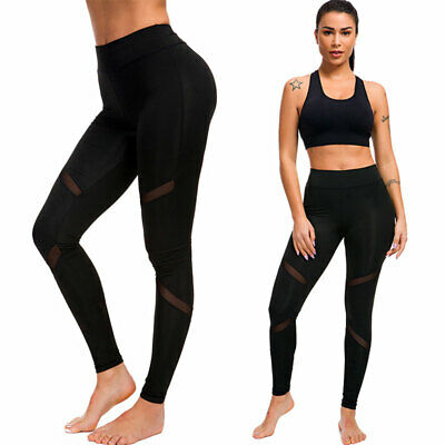 AU14.95 • Buy Women's Black Fitness Yoga Leggings High Waist Pants Sports Gym Running Trousers