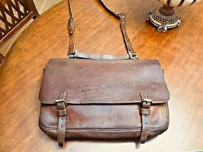 WWII  Original SWISS MILITARY Leather Briefcase / Messenger Bag / Mail Bag • 357.07£