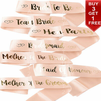 Hen Party Sashes Team Bride To Be Sash Wedding Girls Night Out Party Rose Gold • 1.79£