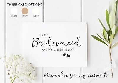 £1.90 • Buy On The Day Wedding Thank You Cards - To My Bridesmaid, Sister, Mum, Etc
