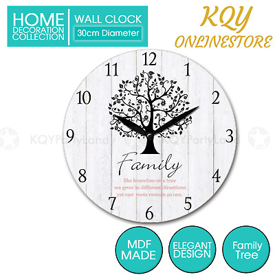 AU15.95 • Buy 30cm MDF Round Wall Clock Family Tree Hanging Art Battery Home Decor Gift Boxed