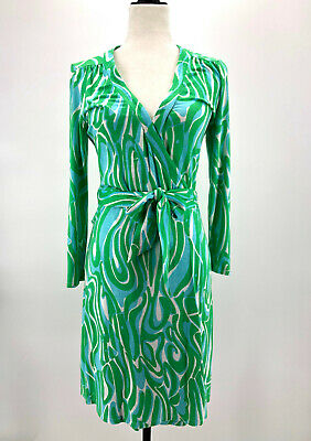 $19.99 • Buy Lilly Pulitzer Womens Small Green Blue Meridian Finders Keepers Wrap Style Dress