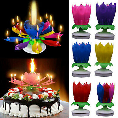 $ CDN3.14 • Buy Candle Rotating Birthday Musical Lotus Flower Cake Candles Happy Light Small