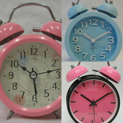 AU27.95 • Buy New Alarm Clock Quiet Ticking Pink & Floral Clocks Light Up, Blue Has 3D Numbers