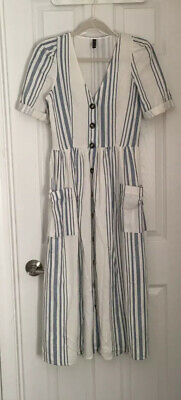 $24.99 • Buy Zara TRF Linen Button Midi Blue Stripe Dress Size Small