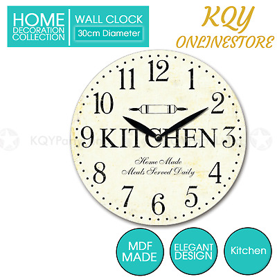 AU15.95 • Buy 30cm MDF Round Wall Clock Kitchen Hanging Art Battery Home Decor Gift Boxed AU