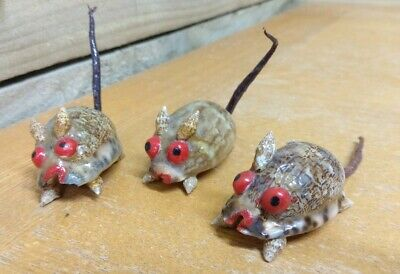 3 X Mice Mouse Ornaments Figures Made From Shells - Vintage Retro Kitsch Cool  • 5.99£