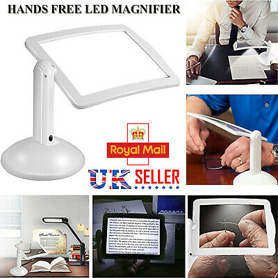 LED Magnifying Glass Stand With Light Lamp Hands Free Magnifier Foldable Clamp • 6.89£
