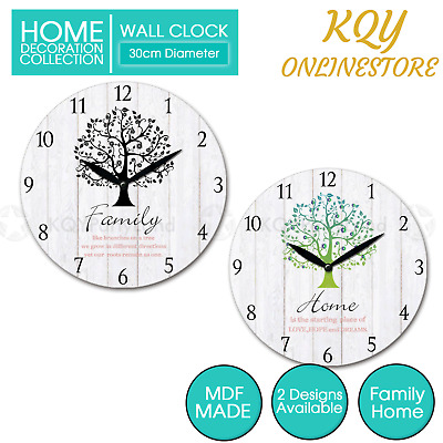 AU15.95 • Buy 30cm MDF Round Wall Clock Family Home Tree Hanging Art Battery Home Decor Gift