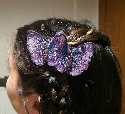 New Butterfly Purple Clips Sparkly Wedding Bridal Prom Party Formal Model Star • 8.45£