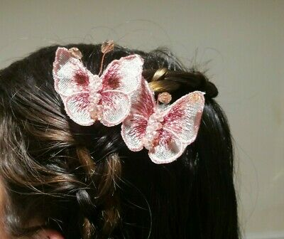New Butterfly Pink Clips Sparkly Wedding Bridal Prom Party Formal Model Star • 7.95£
