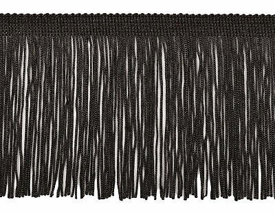 Black 4  Chainette Fringe Trim Midnight's Embrace [By The Yard] • 2.46£