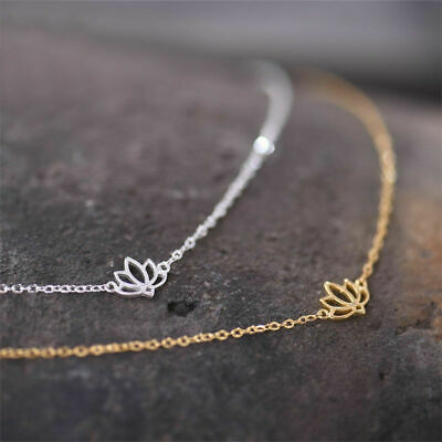 $ CDN14.70 • Buy S925 Sterling Silver Zen Yoga Lovely Tiny Lotus Flower Necklace Gift A2656