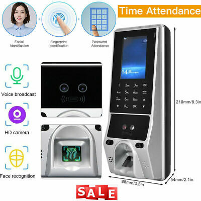 Face Recognition Smart Fingerprint Time Clock Attendance Machine Access Control • 94.99£