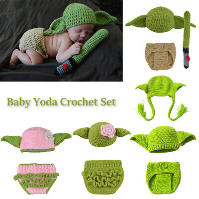 Star Wars Master Yoda Newborn Baby Knitted Crochet Costume Photo Prop Outfit Set • 10.29£