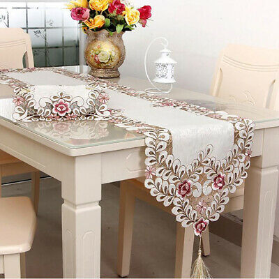AU10.75 • Buy Vintage Dining Table Runner Embroidered Flower Tassel Cutwork Home Decor Cover T