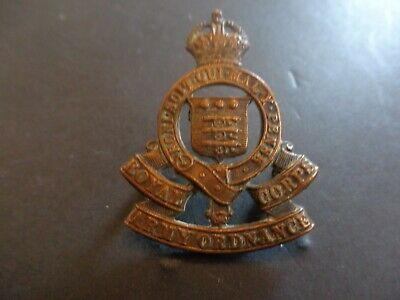 Royal Army Ordnance Corps 1918-48 Pattern Officers Cast Cap Badge K/c (lugs) • 6£
