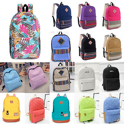 $24.69 • Buy Unisex Mens Canvas School Backpack Travel Camping Rucksack Shoulder Bags Outdoor