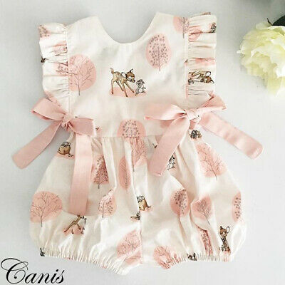 UK Toddler Baby Girl Ruffle Romper Bodysuit Jumpsuit Summer Outfit Clothes 0-24M • 5.79£