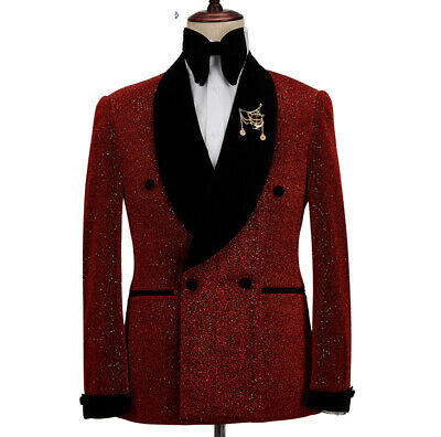 $ CDN108.23 • Buy Wine Red Prom Dinner Suits Men Wedding Groom Double-breasted Party Formal Tuxedo