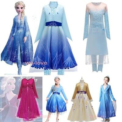 AU21.95 • Buy 2019 New Release Girls Frozen 2 Elsa Anna Costume Party Birthday Dress 2-10Years