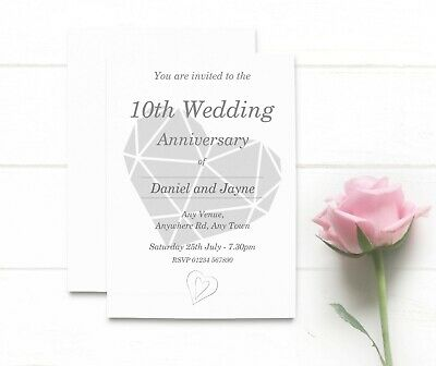 Personalised 10th Wedding Anniversary Invitations • 17.99£