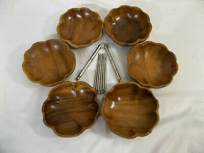 $36.72 • Buy Set Of 6 Flower Shaped 5  Wooden Bowls And HMQ Nutcracker With 6 Picks