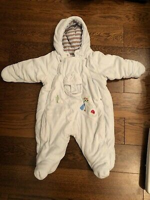 MARESE. Baby Blue Padded Velour Snowsuit, Integral Booties And Mitts. 6m.perfect • 9£