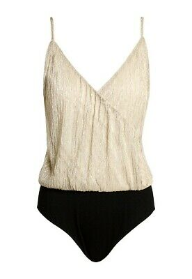 $15 • Buy Sans Souci Flowy Spagetthi Gold Beige Black Pleated Strap Bodysuit Top L