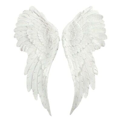PAIR OF LARGE GLITTER ANGEL WINGS 54cm WHITE GLITTER WALL HANGING HOME AO_44427 • 58.95£