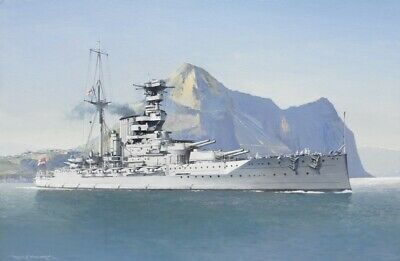 £29.95 • Buy HMS Warspite Royal Navy Battleship Gibraltar Painting Art Print - 17  Image