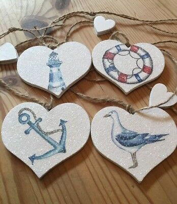 £8.99 • Buy Nautical Garland/Bunting Shabby Chic Real Wood Hearts Rustic Twine Anchor