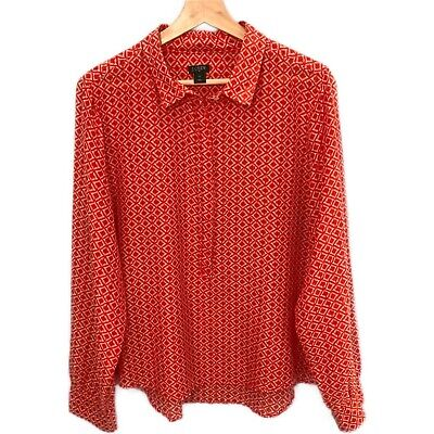 $18 • Buy J.Crew Red Printed Cotton Silk 1/2 Button Popover Blouse - Women's Size XL