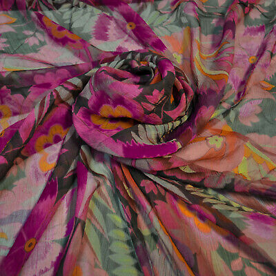 $69 • Buy Etro Authentic Mulberry Silk FABRIC. Made In Italy. Flowers Print Price For 1m.