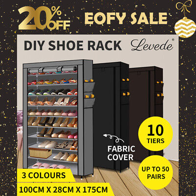 AU39.99 • Buy Levede 10 Tier Shoe Rack Cabinet Portable Storage Cover Shelf Organiser 50 Pairs