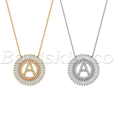 $10.99 • Buy A-Z Alphabet Initial Letter Necklace Rhinestone CZ Pendant Gift For Women Girls