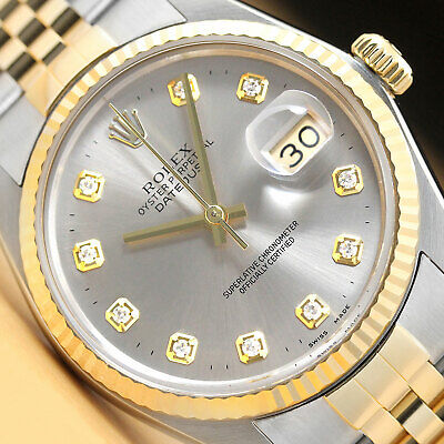 $ CDN6943.04 • Buy Rolex Mens Datejust 2 Tone 18k Yellow Gold & Stainless Steel Quickset Gray Watch