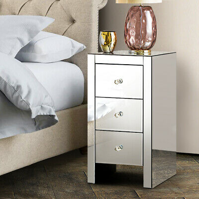 AU158.90 • Buy Artiss Mirrored Bedside Table Glass Drawers Bed Side Nightstand Mirror Furniture