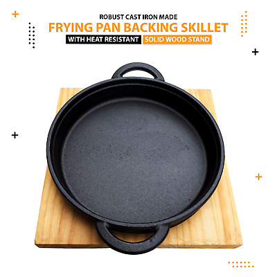 £18.99 • Buy Cast Iron Dinning Skillet Frying Pan Pot Grill Backing With Wood Serving Board